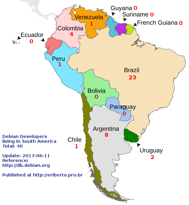 Map Of South America 2017.Debian Developers Living In South America Eriberto Blog